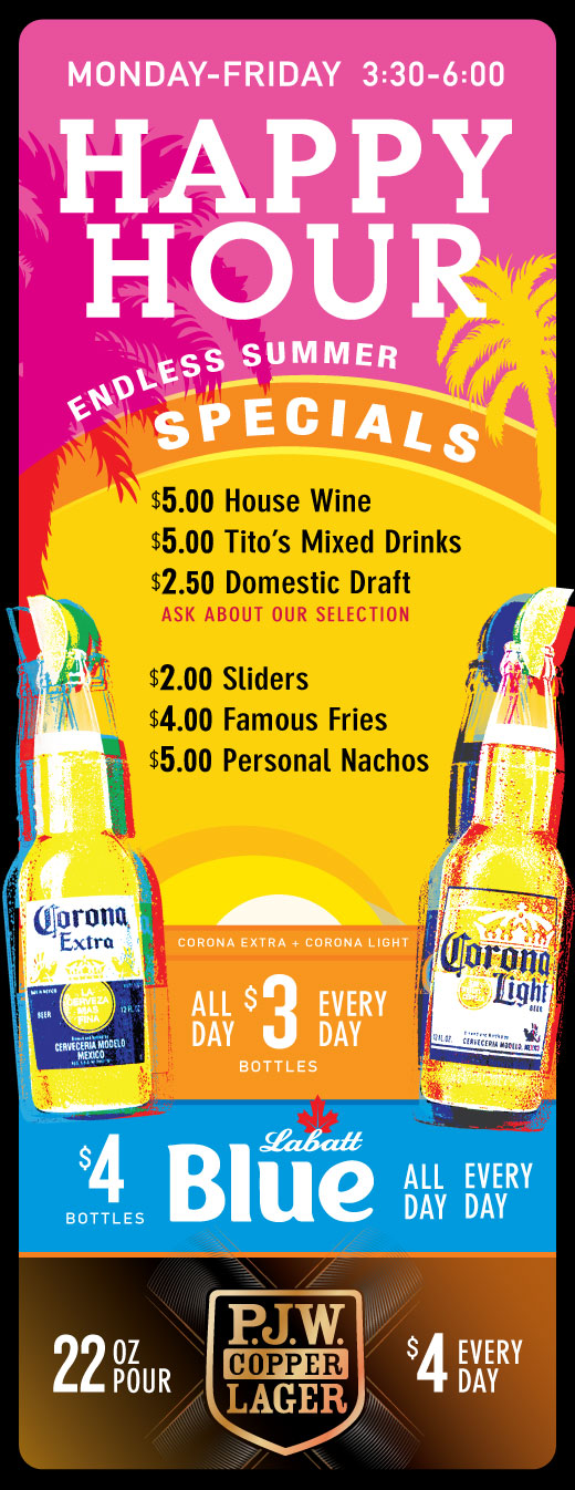 P.J. Whelihan's Beer Specials - Every Day of the Week - Ask your server