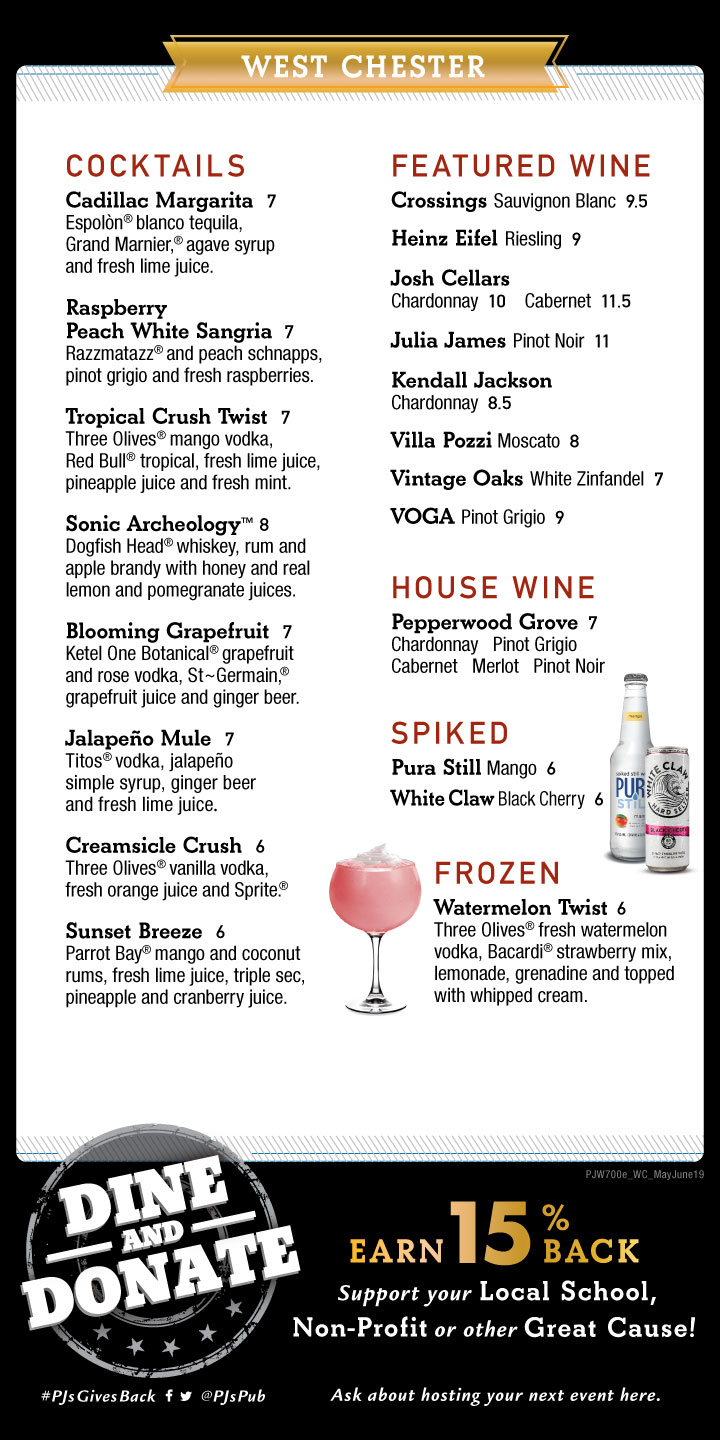 P.J. Whelihan's Cocktail Specials - Every Day of the Week - Ask your server
